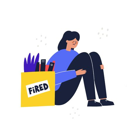 sad girl fired from work unemployment